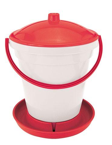 Tränkeneimer PVC weiß/rot, 18 L