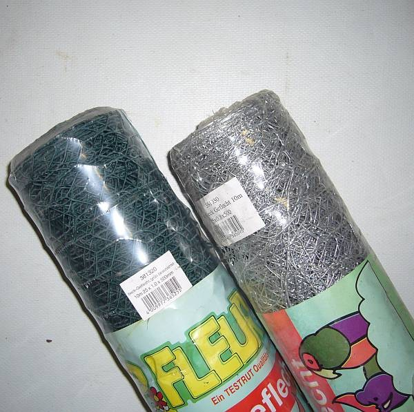 Drahtgeflecht, grün, grob, 10 Mtr.-Rolle