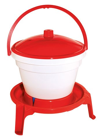 Tränkeneimer PVC weiß/rot, 12 L mit Fuß