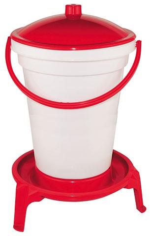 Tränkeneimer PVC weiß/rot, 24 L mit Fuß